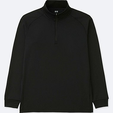 MEN DRY-EX WARM LONG SLEEVE HALF-ZIP T-SHIRT