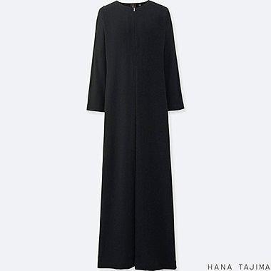 WOMEN HANA TAJIMA RAYON LONG SLEEVE LONG DRESS