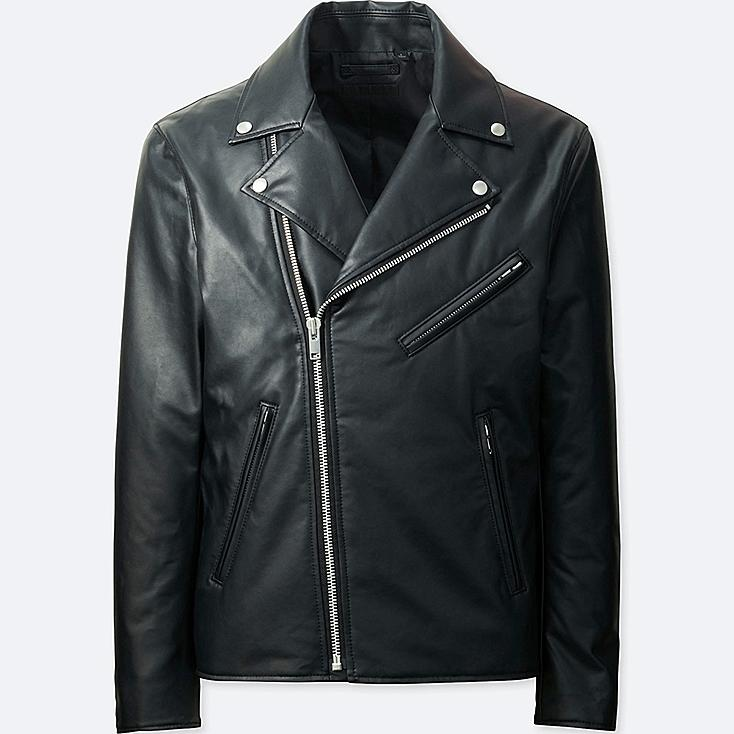MEN FAUX LEATHER DOUBLE-BREASTED JACKET