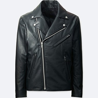 MEN FAUX LEATHER DOUBLE-BREASTED JACKET, BLACK, medium