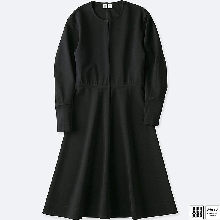 WOMEN UNIQLO U CUT AND SEWN A LINE LONG SLEEVE DRESS