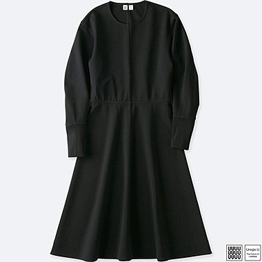 WOMEN UNIQLO U CUT AND SEWN A LINE LONG SLEEVE DRESS