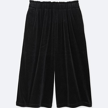 GIRLS VELOUR DRAPE GAUCHO PANTS, BLACK, medium