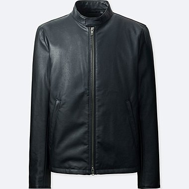 MEN FAUX LEATHER SINGLE-BREASTED JACKET, BLACK, medium