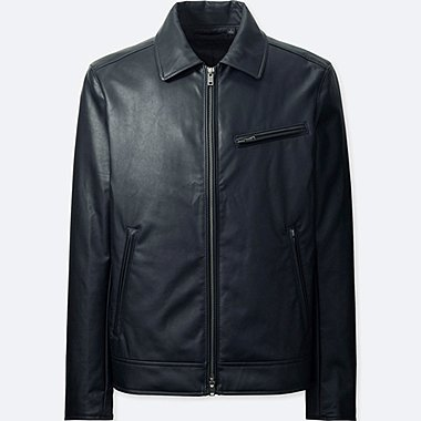 MEN FAUX LEATHER TRUCKER JACKET