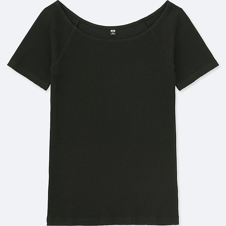 WOMEN RIBBED BALLET NECK SHORT-SLEEVE T-SHIRT, BLACK, large