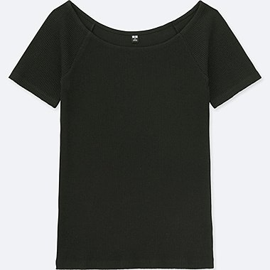 WOMEN Ribbed Ballet Neck Short Sleeve T-Shirt