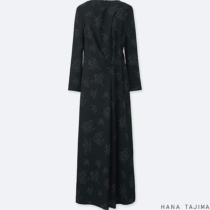 WOMEN PRINTED TUCK LONG-SLEEVE LONG DRESS, BLACK, large