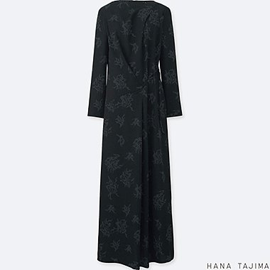 WOMEN PRINTED TUCK LONG-SLEEVE LONG DRESS, BLACK, medium