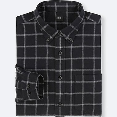 MEN FLANNEL CHECKED LONG-SLEEVE SHIRT, BLACK, medium