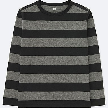 KIDS STRIPED CREWNECK LONG-SLEEVE T-SHIRT, BLACK, medium