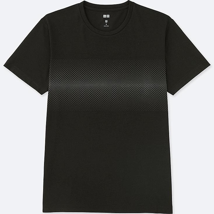 MEN DRY REFLECTIVE PRINT SHORT-SLEEVE T-SHIRT, BLACK, large