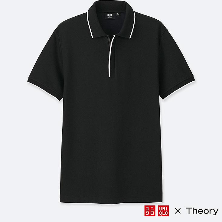 MEN DRY COMFORT SHORT-SLEEVE ZIP POLO SHIRT, BLACK, large