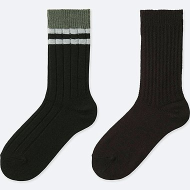WOMEN HEATTECH RIBBED SOCKS (2 PAIRS), BLACK, medium