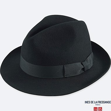 WOMEN IDLF WOOL FEDORA HAT, BLACK, medium