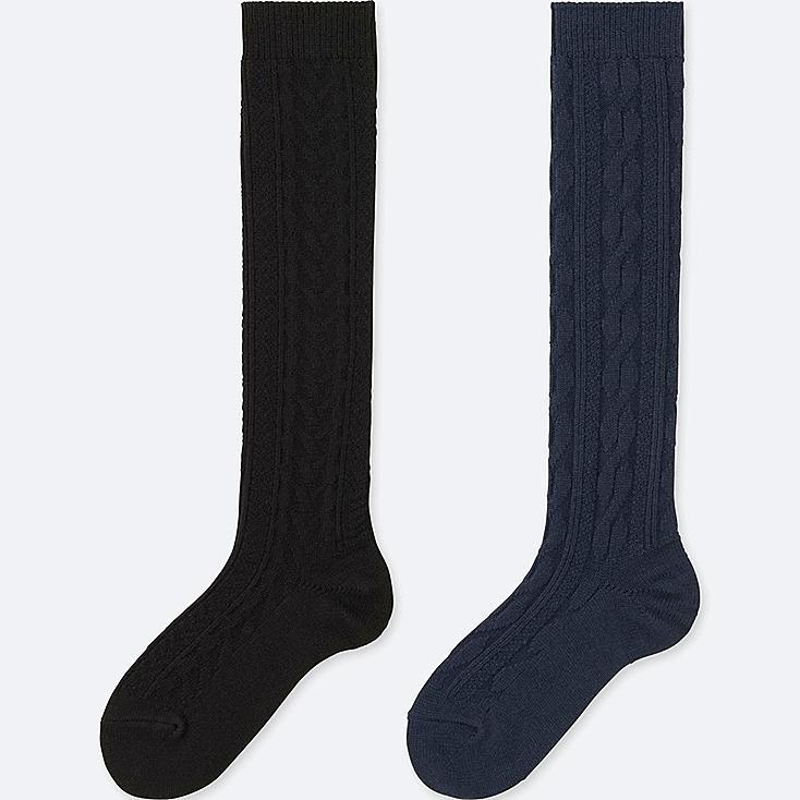 WOMEN HEATTECH KNEE-HIGH CABLE SOCKS, BLACK, large