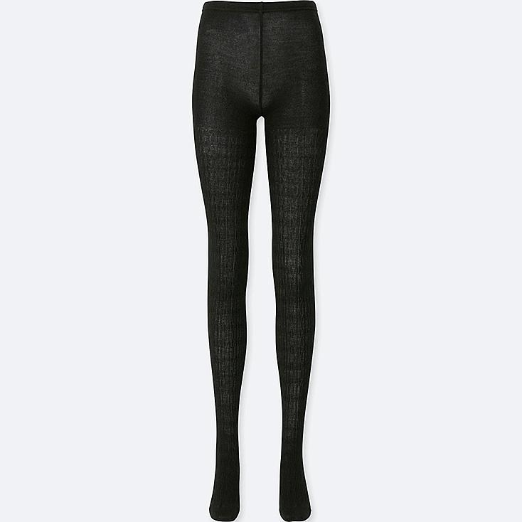 WOMEN HEATTECH KNITTED CABLE KNIT TIGHTS, BLACK, large