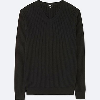 MEN COTTON CASHMERE V-NECK LONG-SLEEVE SWEATER, BLACK, medium
