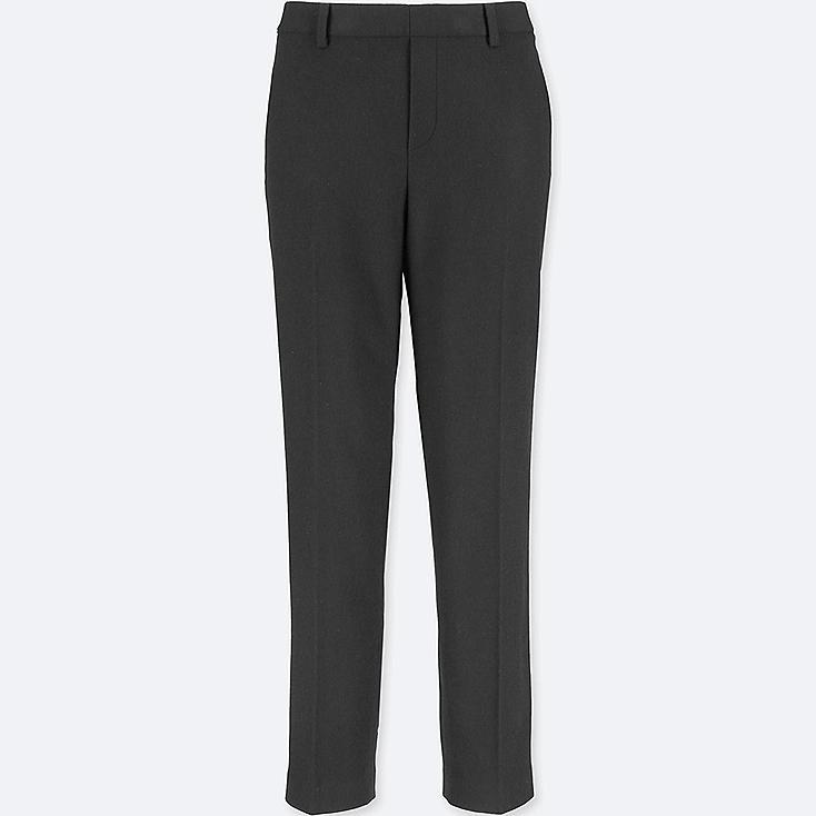 WOMEN TWEED ANKLE-LENGTH PANTS, BLACK, large