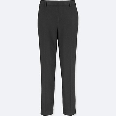 WOMEN TWEED ANKLE-LENGTH PANTS, BLACK, medium