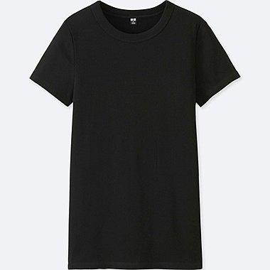 WOMEN SUPIMA COTTON RIBBED CREW NECK SHORT-SLEEVE T-SHIRT, BLACK, medium