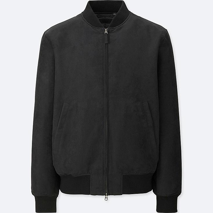 MEN FAUX SUEDE RIBBED BLOUSON