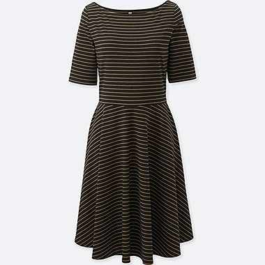 WOMEN CUT AND SEWN SHORT SLEEVE STRIPED DRESS