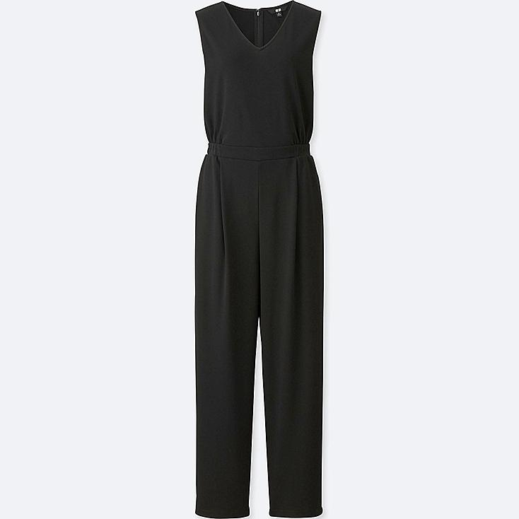 WOMEN CUT & SEWN V-NECK JUMPSUIT, BLACK, large