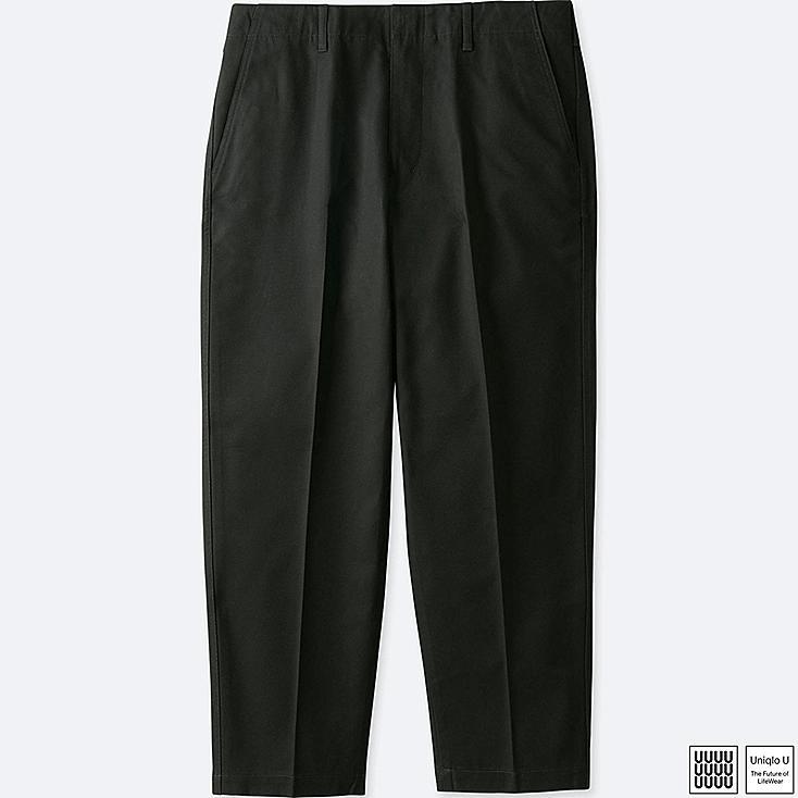 MEN U COTTON TWILL WIDE ANKLE LENGTH PANTS, BLACK, large