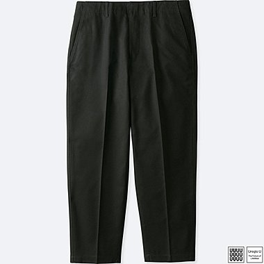 MEN U COTTON TWILL WIDE ANKLE LENGTH PANTS, BLACK, medium