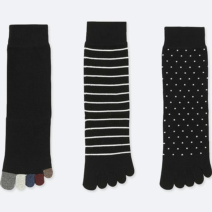 WOMEN SOCKS (3 PAIRS) (ONLINE EXCLUSIVE), BLACK, large
