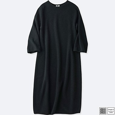 WOMEN UNIQLO U 3D PRINTED SOFT LAMB CREW NECK 3/4 SLEEVE DRESS