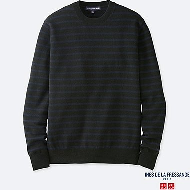 MEN INES CASHMERE STRIPED CREW NECK LONG SLEEVE SWEATER