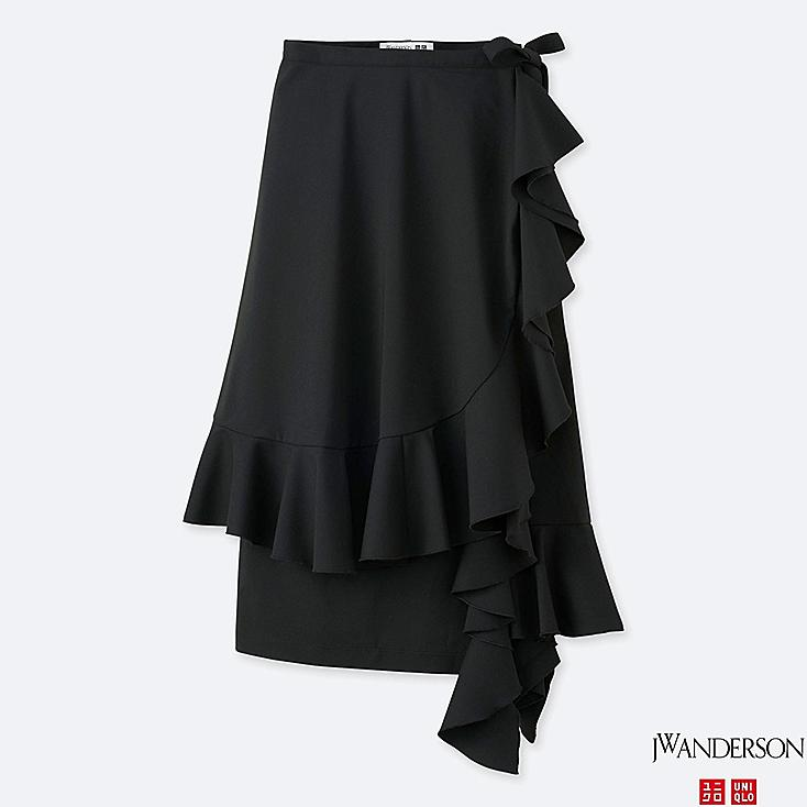 WOMEN JWA RUFFLE WRAP SKIRT, BLACK, large