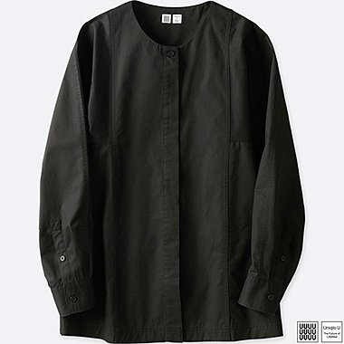 WOMEN UNIQLO U COLLARLESS LONG SLEEVE SHIRT