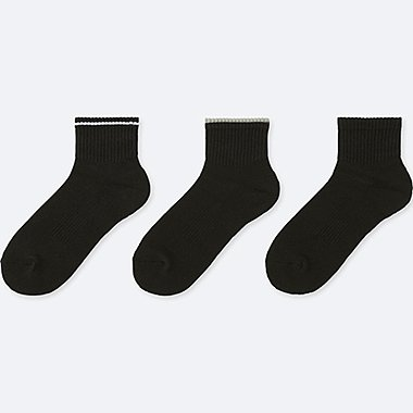 WOMEN SPORTS HALF SOCKS (SET OF 3), BLACK, medium