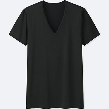 MEN AIRism V-NECK SHORT-SLEEVE T-SHIRT, BLACK, medium
