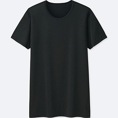MEN AIRism CREWNECK SHORT-SLEEVE T-SHIRT, BLACK, medium