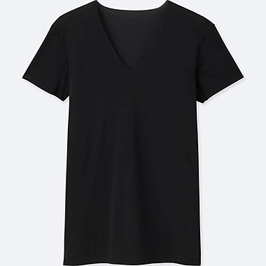 MEN AIRism SEAMLESS V-NECK T-SHIRT, BLACK, medium