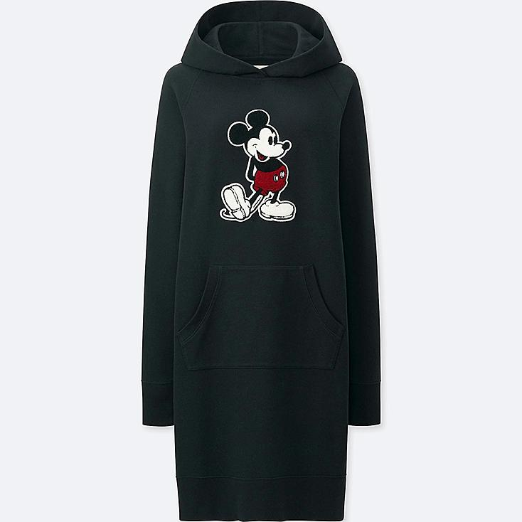 WOMEN MICKEY STANDS LONG-SLEEVE SWEATSHIRT DRESS, BLACK, large