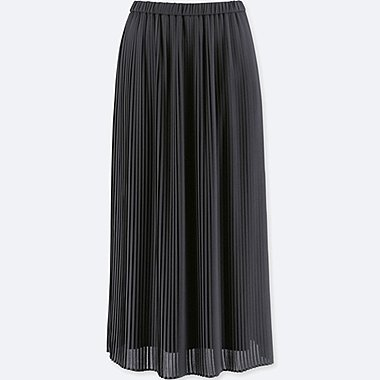 WOMEN HIGH-WAIST CHIFFON PLEATED SKIRT, BLACK, medium