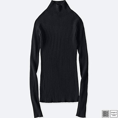 WOMEN UNIQLO U 3D PRINTED MERINO RIBBED MOCK NECK SWEATER