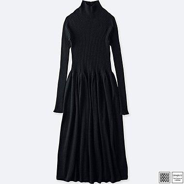 WOMEN UNIQLO U 3D PRINTED MERINO RIBBED MOCK NECK DRESS