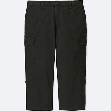 MEN ROLL UP 3/4 CARGO PANTS, BLACK, medium