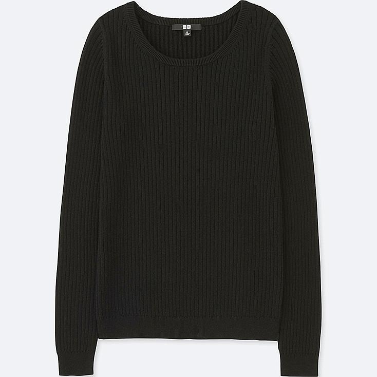 WOMEN COTTON CASHMERE RIBBED SWEATER, BLACK, large
