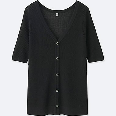 WOMEN Light Ribbed Half Sleeve Cardigan