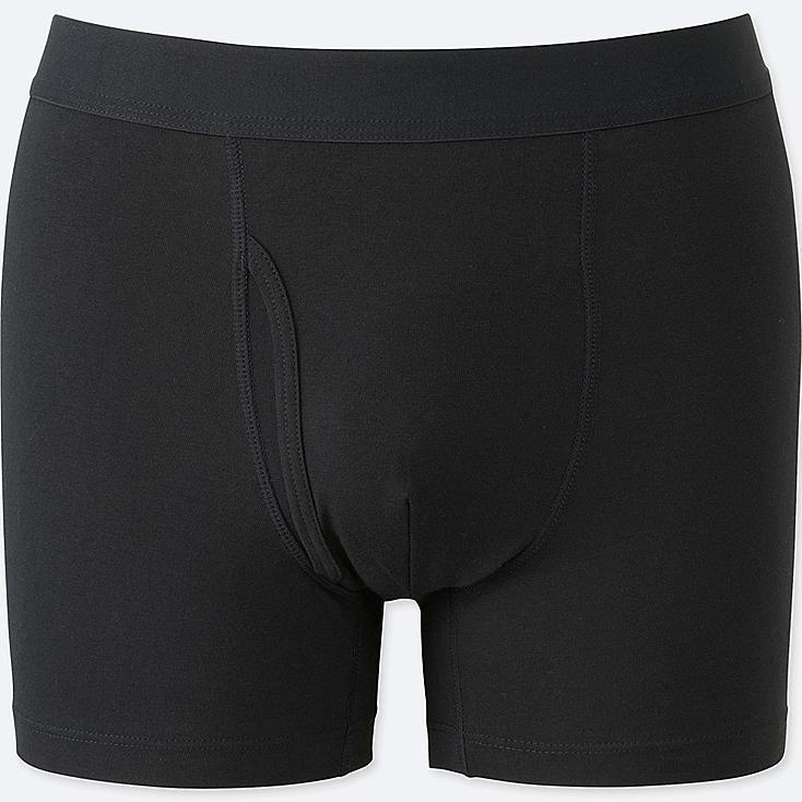 MEN SUPIMA® COTTON BOXER BRIEFS, BLACK, large