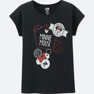 GIRLS MICKEY TRAVELS SHORT-SLEEVE GRAPHIC T-SHIRT, BLACK, medium