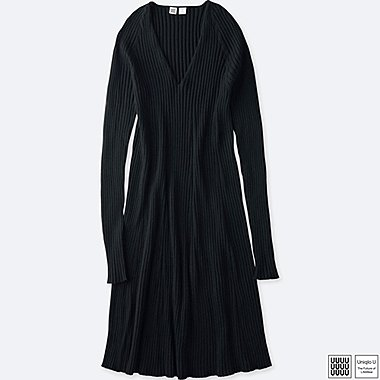 WOMEN UNIQLO U 3D PRINTED MERINO RIBBED V NECK DRESS