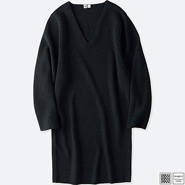 WOMEN UNIQLO U MERINO BLEND V NECK LONG SLEEVE DRESS